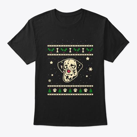 Christmas Dalmatian Gift Black T-Shirt Front
