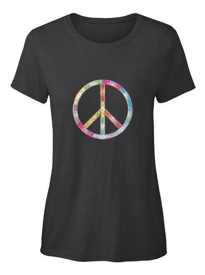 Peace Zeichen Bunt Ellesson Black Damen T-Shirt Front