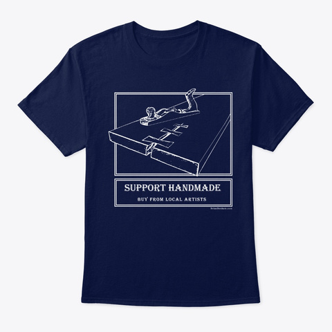 Support Handmade    Local Artist Navy T-Shirt Front