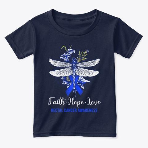 Faith Hope Love Rectal Cancer Awareness Navy  T-Shirt Front