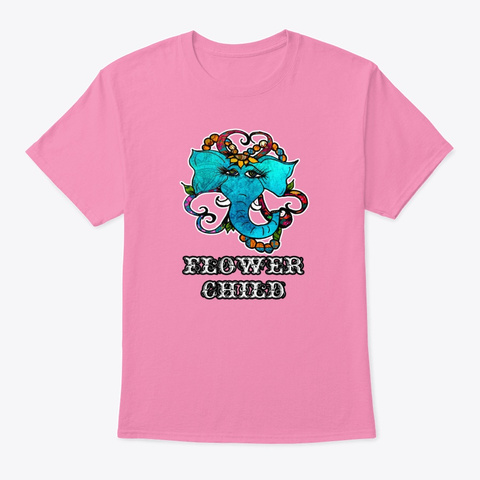 Flower Child Elephant Pink T-Shirt Front