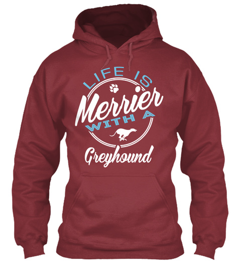 Greyhound Gift Shirt. Maroon T-Shirt Front