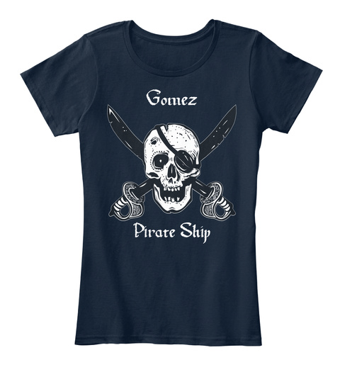 Gomez's Pirate Ship New Navy T-Shirt Front