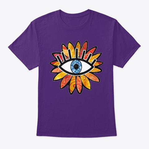 Greek Evil Eye Peach Flower  Purple T-Shirt Front