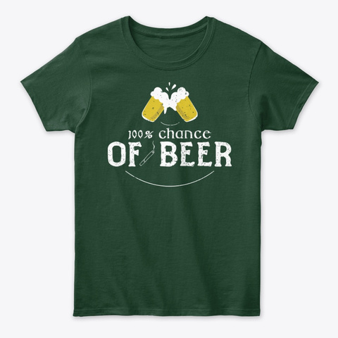 St Patrick's Day Beer Forecast Forest Green T-Shirt Front