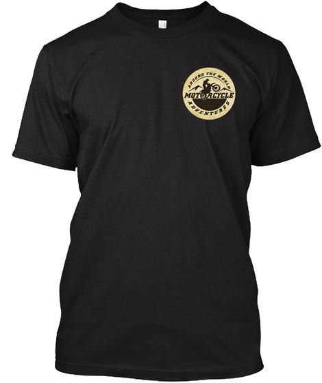 Motorcycle Adventures Logo Black T-Shirt Front