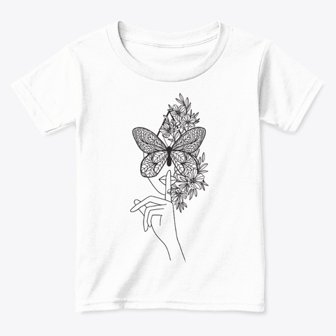Butterfly Face Mask Line Art White  T-Shirt Front