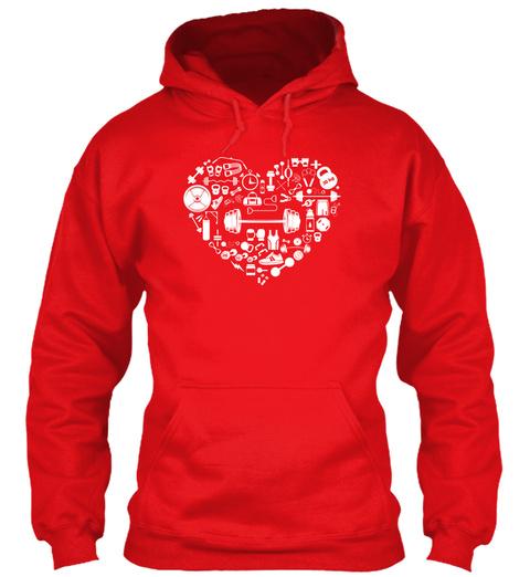 Weight Training   Heart Fire Red T-Shirt Front