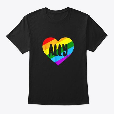Lgbtq Ally T Shirt For Gay Pride Men Black T-Shirt Front