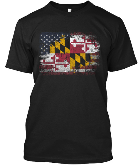 Maryland Usa Black T-Shirt Front