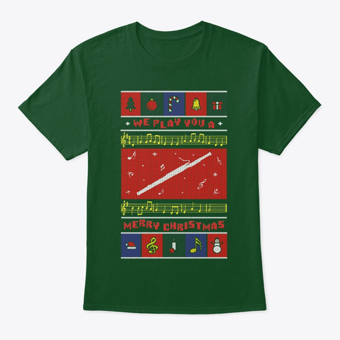 Bassoon Ugly Christmas Deep Forest T-Shirt Front