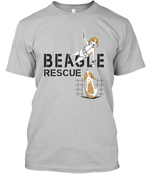 Beagle Rescue Light Heather Grey  T-Shirt Front