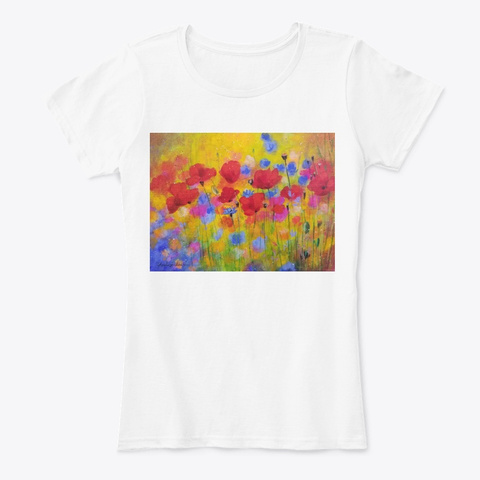 Bright Floral Poppies White T-Shirt Front