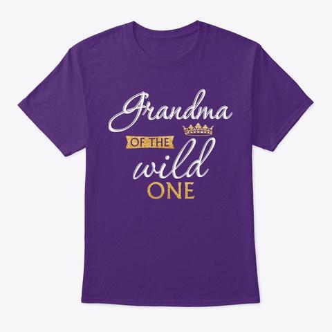 Grandma Of The Wild One 1st Birthday Mat Purple T-Shirt Front