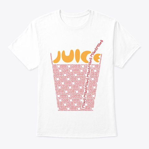 Mikro Orange Juice Cup And Straw White T-Shirt Front