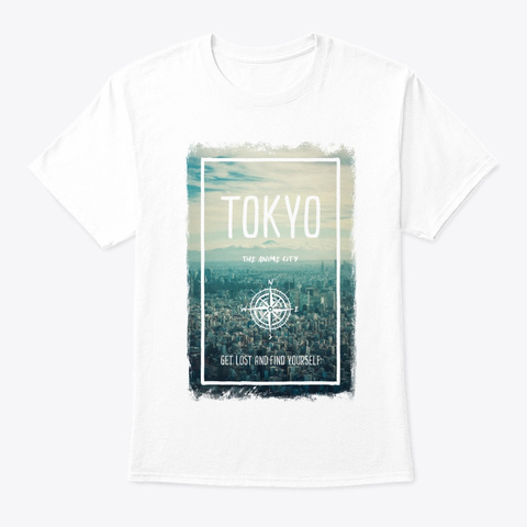 Tokyo, Japan, The Anime City White T-Shirt Front