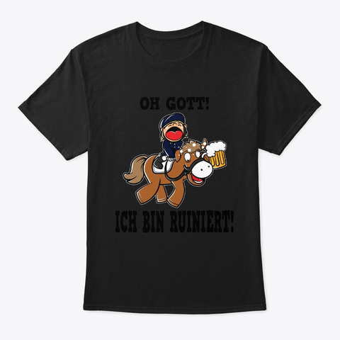 Equestrian Sports Beer Alcohol Show Jump Black T-Shirt Front