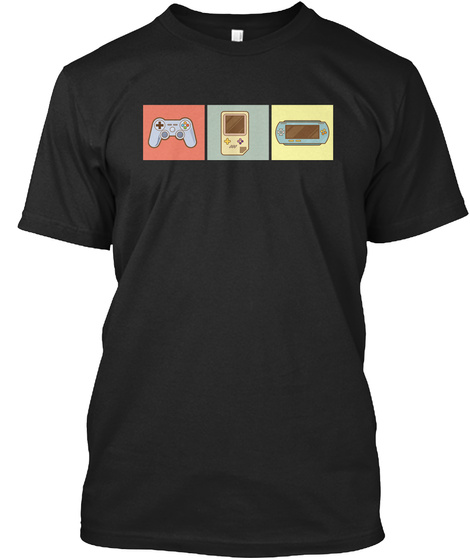 Retro Game Controller Video Games Cool Black T-Shirt Front