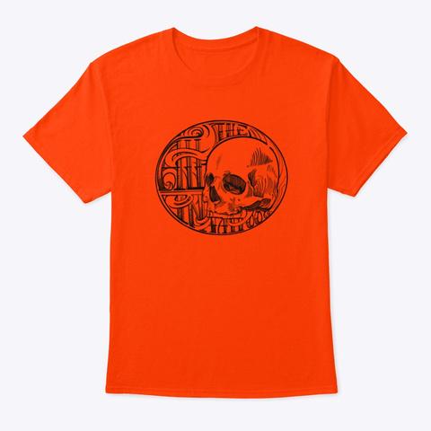 All In Tattoo Co. Fancy Skull Line Art! Orange T-Shirt Front
