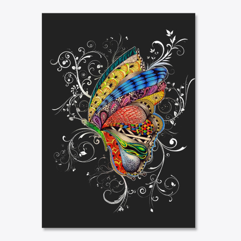 Butterfly Art Black T-Shirt Front