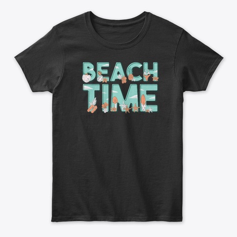 Beach Time  Tee Black T-Shirt Front