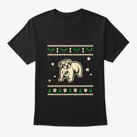 Christmas Maltese Gift Black T-Shirt Front
