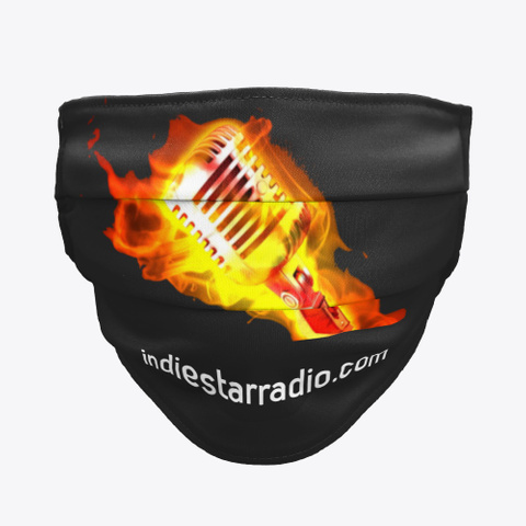 Official Isr Flaming Mic Face Mask Black T-Shirt Front