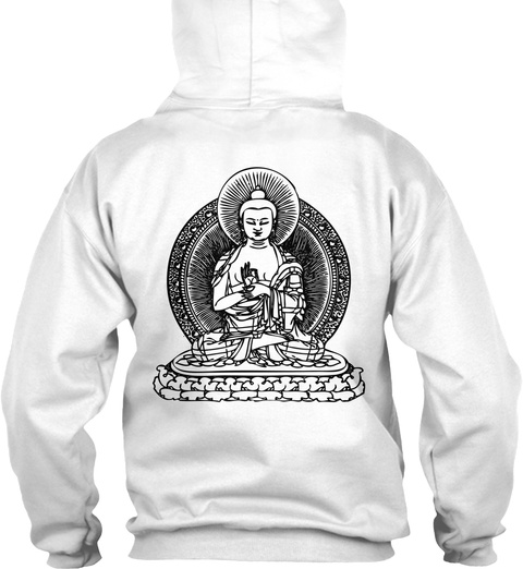 Buddha Hoodie White T-Shirt Back