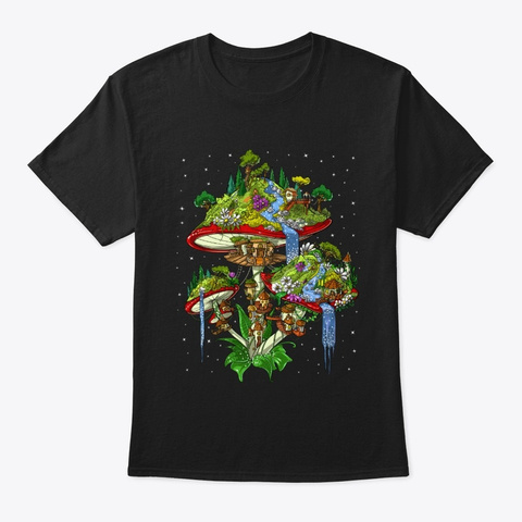 Magic Mushrooms Island Black T-Shirt Front