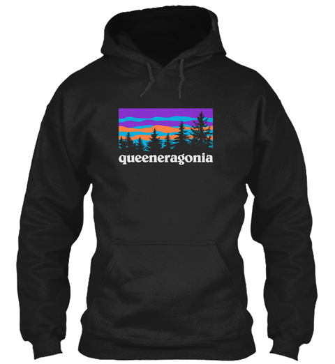 Queener Family Hiking And Camping Black T-Shirt Front