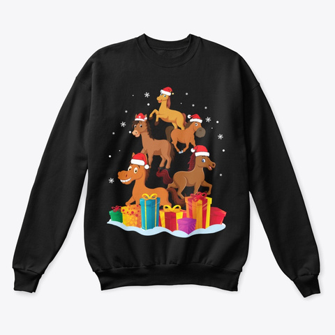 Horse With Noel Hat Christmas Tree Black T-Shirt Front