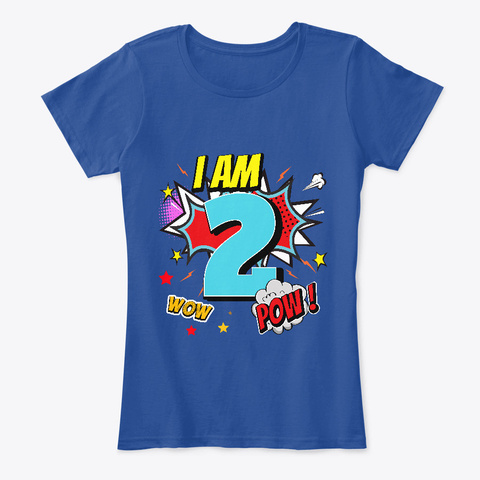 2 Years Old 2nd Birthday Boy Comic Kid  Deep Royal  T-Shirt Front