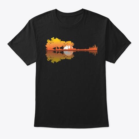 Guitar Lake Musician Guitarist Band Black T-Shirt Front