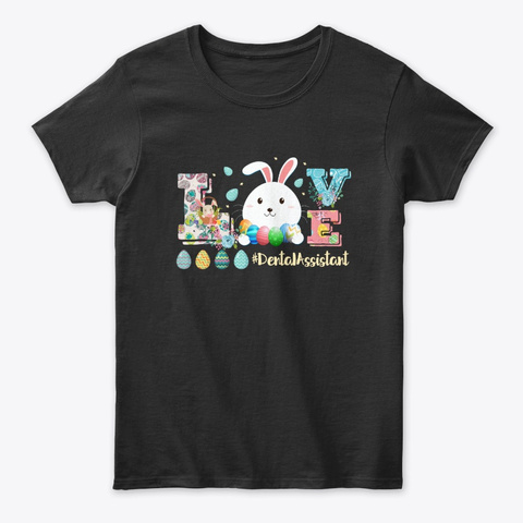 Womens Happy Easter Hipster Bunny Pink Black T-Shirt Front