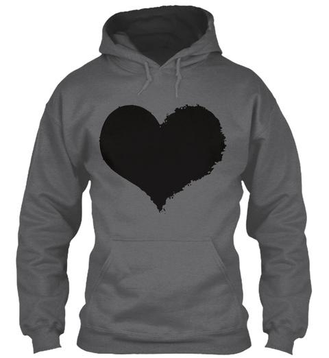 Black Tattered Heart Hoodie Dark Heather Camiseta Front