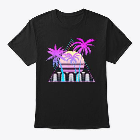 Retro 1980 S 1990 S Vaporwave Palm Trees B Black T-Shirt Front