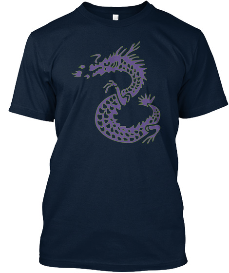 Tshirt Dragon Purple Green New Navy T-Shirt Front