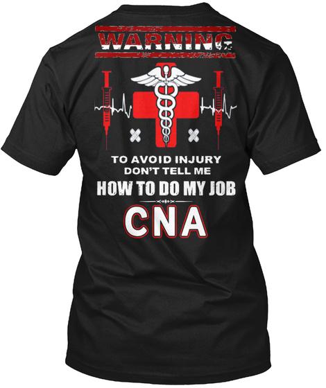 Cna   Certified Nurse Aide   Nurse   ... Black T-Shirt Back