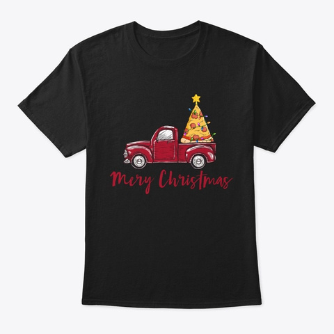Merry Crustmas Pizza Lover Christmas Black T-Shirt Front