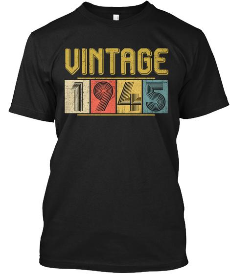 Vintage 1945, Black T-Shirt Front