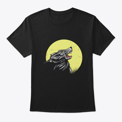Wolf Howling At The Moon Black T-Shirt Front