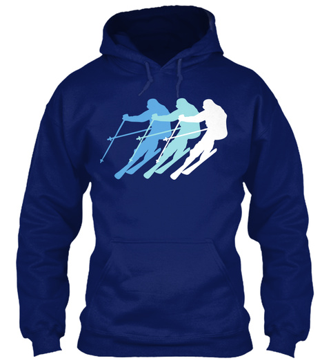 Skiing  Oxford Navy T-Shirt Front