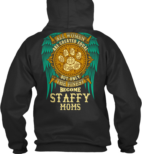 Staffy Mom Funny Gift Jet Black T-Shirt Back