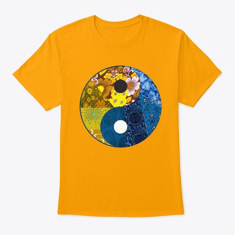 Blue And Gold Yin And Yang  Gold T-Shirt Front