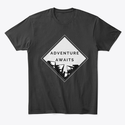 Adventure Awaits Travel T Shirt | Sweat Black T-Shirt Front