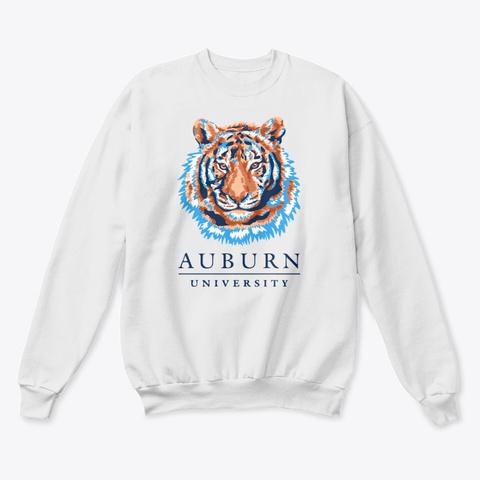 Auburn Tiger White  T-Shirt Front