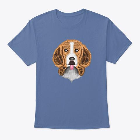 Cute Beagle Design Pixel Art Denim Blue T-Shirt Front