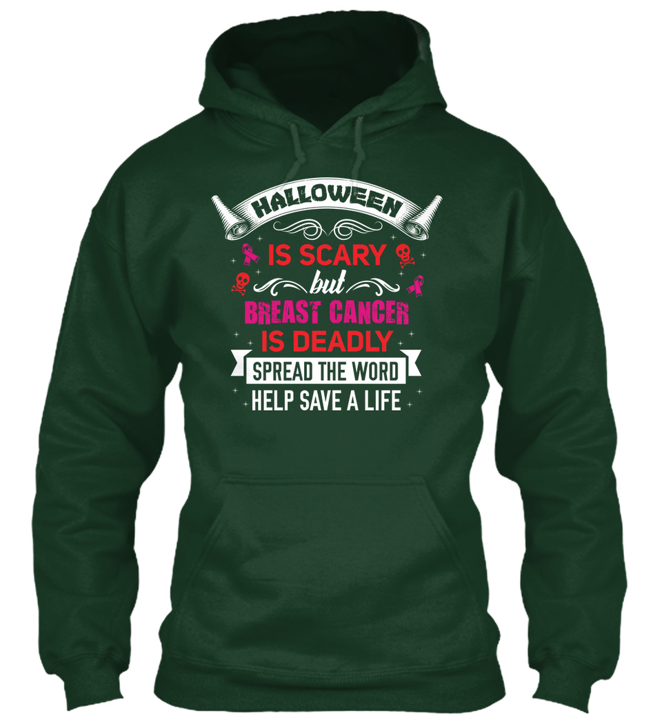 Halloween is Scary but Breast Cancer is Deadly Unisex Hoodie Cure Sweater