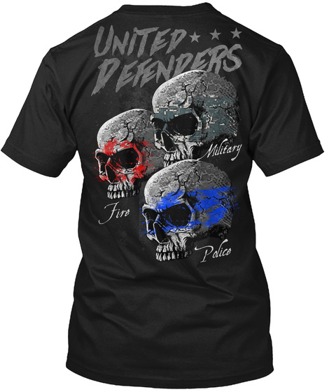United Defenders Fire Military Police Black T-Shirt Back