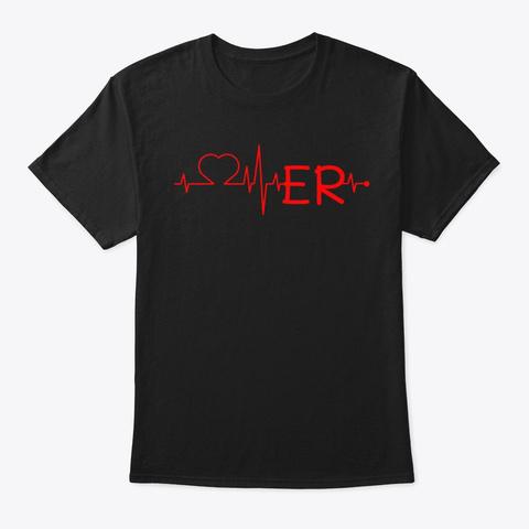 Love Er Heart Beat Doctor Nurse Hospice Black T-Shirt Front